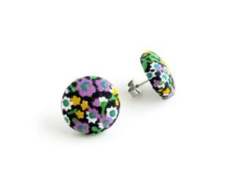 Vintage style button earrings - floral fabric earrings - bright stud earrings - purple green yellow black