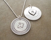 Personalized Mother and Baby Rabbit Necklace, Heart Monogram, Fine Silver, Sterling Silver Chain, Made To Order