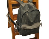 Handmade backpack in stonewashed grey canvas combined with leather details,named NIKOS