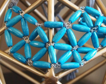 turquoise rice wood geometric mosaic necklace