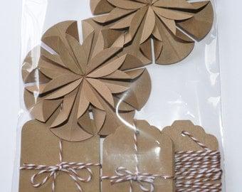 Rustic Gift Wrap Set, Kraft Paper Gift Wrap, Tags and Bows, Kraft Paper Sampler Set, DIY Gift Wrap Set
