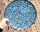 Hand Carved Bowl Wheel Thrown Bowl- Second in a New series / Serving platter | centerpiece bowl |Unique one of a kind bowl /