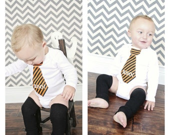 "Baby Boy Halloween Costume Baby Boy BOO Necktie Bodysuit. Chocolate Brown w Cream Polka Dot OR Orange and Black Striped ""BOO"" Tie. Outfit"