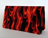 Checkbook Cover, Fire, Checkbook Holder, Money, Gift for Him, Rockabilly, Gift Under 15, Fabric, Flames