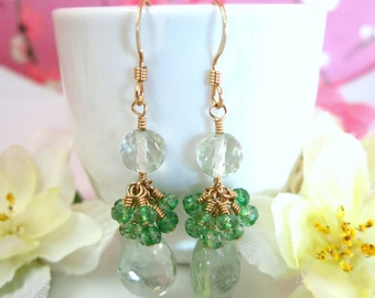 Green amethyst cluster gold drop earrings, green forest dangle earrings, high quality green amethyst gold filled drop earrings