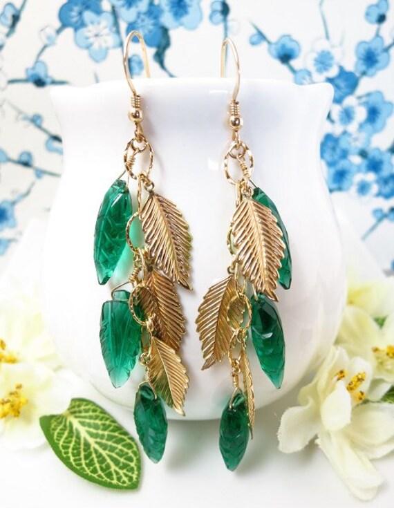 Reserved for Yvonne - Green quartz leaf gold filled earrings, fall leaf earrings, woodland leaf earrings, carved leaf earrings