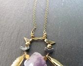 Late Night Dreams Necklace //  Quartz, Feather, Geometric Necklace // Geometric Necklace // Geometric Jewelry