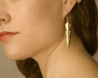 Long Chevron Gold Earrings // Geometric Jewelry // Arrow Earrings // geometric Jewelry // arrow jewelry // triangle earring
