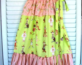 """Ruffle Laundry/Storage/Toy Bag-Girls, Nursery, Toddler-""""Dress up"""" Print-pink and green"""
