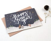 Holiday Cards - Happy New Year, Starry Night - 10 Greeting Cards