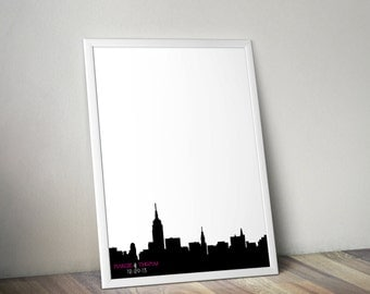 Wedding Guestbook Print - New York City Skyline Guest Book Alternative - Personalized Print 8x10 or 11x14