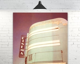 "Art Deco Cinema POLAROID Photo ""CINEMA"" Retro Cinema Sign Photo, Polaroid Photography, Art Deco Photography, Old Cinema Photo, Australian"