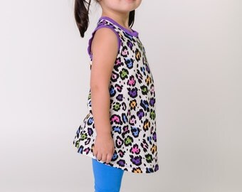 SALE, Girls spring sleeveless tunic, rainbow leopard dress, kids toddler girls clothing, purple, ready to ship