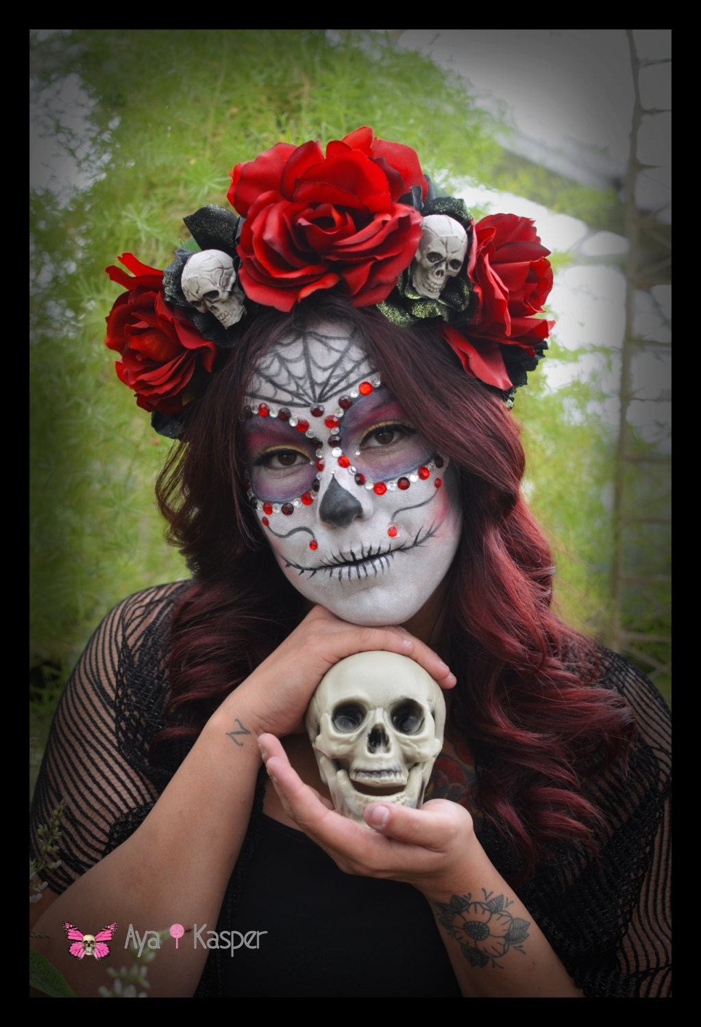 Skull And Rose Day Of The Dead Crown Skeleton Katrina Dia De