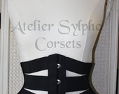 Waist cincher underbust corset in black coutil and stretch velvet ribbons Totaly closed waist size is 66 cm (26 inches)