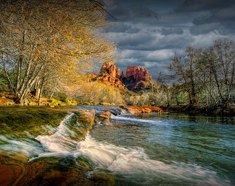 Oak Creek River cascading falls by Cathedral Red Rock in Sedona Arizona No.SC4 - A Fine Art Southwest Landscape Photograph
