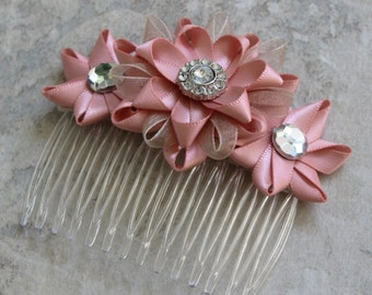 Blush Hair Accessory, Pink Flower Hair Comb, Blush Pink Wedding, Blush Wedding Hair Piece, Flower Comb, Blush and Champagne Wedding