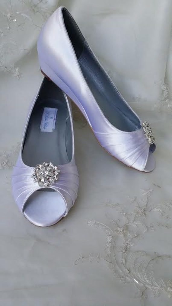 Items Similar To Wedding Shoes Wedge Shoes Bridal Wedges With Crystal Brooch Dyeable Shoes Pick