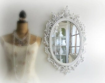 O V A L Shabby Chic Mirror Lacey French Country Nursery Vanity
