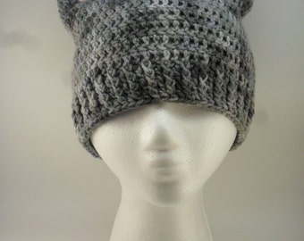 Kitty Cat Ears Beanie - Shades of Grey Gray with Pink Ears