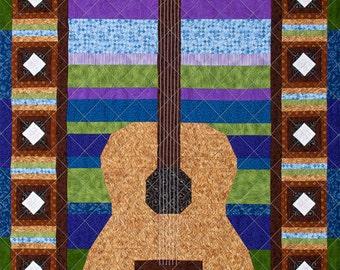 Solo Guitar Patchwork Quilt Art Pattern