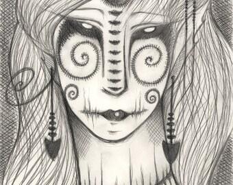 5x7 Fine Art Print Madame Butterfly, B&W Art, Elf Fantasy Art, Fantasy Magical Mystical