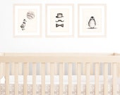 Baby Boy Nursery Art Prints, Set of 3 8x10 / A4 Watercolour Prints in Grey, Black and Cream, Illustration of Penguin and Duck