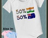 Austrailia Bodysuit - India Bodysuit - short sleeve and long sleeve 50 India Flag 50 Australian Flag baby infant onepiece Nationality Shirt