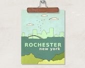 Rochester New York  // Typographic Print, Illustration, Giclee, Nursery Art Decor, Illustration, Travel Theme, Digital, Upstate New York