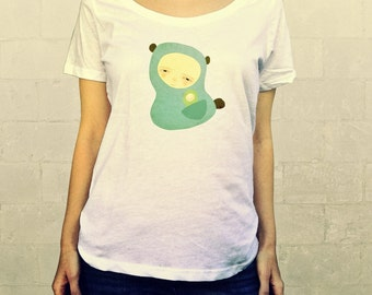 Go Where You Go // Ladies Womens Shirt, scoop neck, T-shirt, Illustration, Character, Bear, Girl, Boy, Child, Art, Clothing, Lisa Barbero