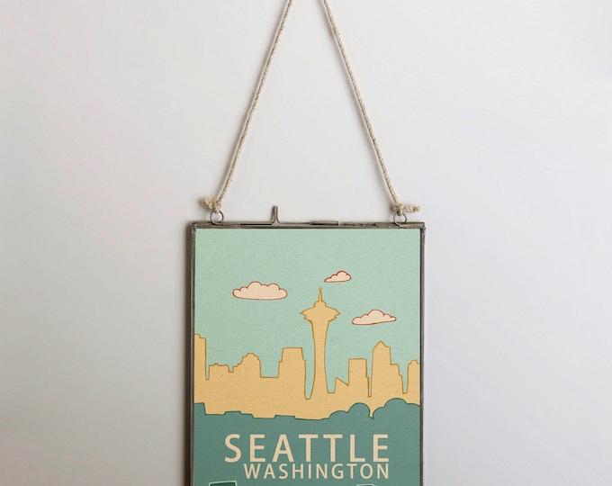 Seattle Washington Skyline 2.0  // Typography Print, Nursery Decor, City Illustration, Travel Theme, Digital, Trendy Loft, Grunge Music