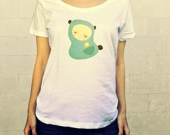 Go Where You Go // Ladies Womens Shirt, scoop neck, T-shirt, Illustration, Character, Bear, Girl, Boy, Child, Art, Clothing, Lisa Barbero