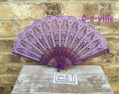 Wedding HAND FAN in Lilac, Light Purple, Feng Shui Gift, Wedding Accessory, Lolita, Bride Bouquet, Photo prop, Made in America
