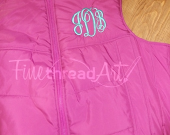 Monogram Puffy Vest with Pockets Zip Up Layering Piece Plus Size Available 3X 4X