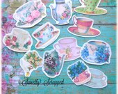 TEA CUPS Embellishments, Paper  .. Cut Outs, Vintage Image, Roses, Kettle, Scrapbooking