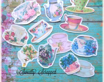 TEA CUPS Embellishments, Paper  .. Cut Outs, Vintage Image, Roses, Kettle, Scrapbooking