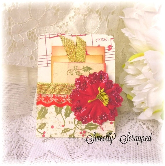 Christmas Pocket with Pull Out Tags, Scrapbooking, Project Life, Pocket, Cardmaking, Poinsettia