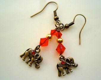 Elephant Earrings - Siam Red Swarovski Crystal Earrings, Brass Earrings, Crystal Earrings, Tiny Elephant Earrings
