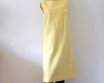 1960s A-Line Dress - yellow wool shift - mod vintage fashion