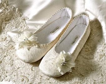 Wedding Shoes - Victoria  Bridal Ballet Flats, Vintage Lace,  Custom Handmade Women's Bridal Shoe, Pink2Blue