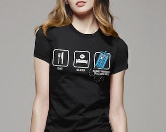 Doctor Who Shirt: Eat Sleep Who | geek t shirt, doctor who gift, doctor who clothing, tardis tshirt, geek tee shirt, geek gift, sci fi fan