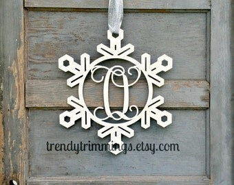 Snowflake Monogram- Holiday Trimmings™ Wooden Monogram Letter- Interlocking Script, Door Hanger Wreath- Christmas, winter decor- unpainted
