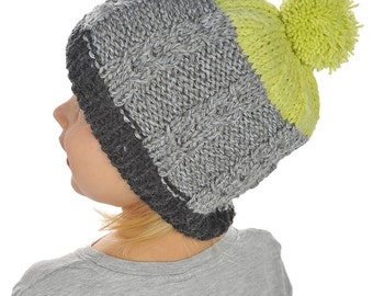 Toddler Baby Boy Girl Kids Children Hand Knitted cozy Hat Beanie charcoal Grey lime Green with Cable Knit Pom pom, 0-24 months, 2T-5T, 6-11