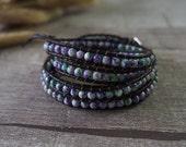 Beaded Wrap Bracelet Rain Flower Stone Bracelet Leather Bracelet Leather Wrap Bracelet Beaded Bracelet 10770