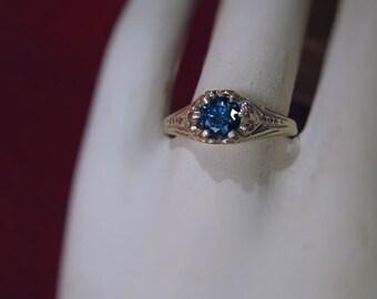 Genuine Blue Diamond .50ct Vintage Style Filigree Ring Sterling Silver handmade custom sizes 3 4 5 6 7 8 9 10 11 fine jewelry 14k gold
