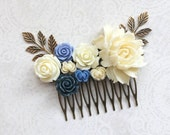 Ivory Cream Bridal Hair Comb Dark Blue Rose Rustic Nature Big Rose Comb Blue Wedding Floral Hair Piece Bridesmaid Gifts Something Blue
