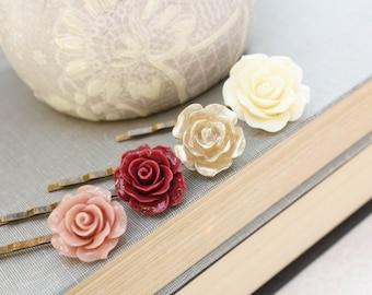 Rose Bobby Pins Romantic Flower Hair Accessories in Dusty Rose Pink Deep Red Gold Cream Vintage Style Country Chic Wedding - Set of Four (4)