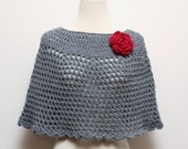 Hand Crocheted Poncho / Shawl in Heather Grey with Red Rose Flower Brooch