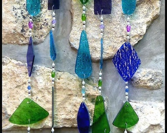 Glass Windchime Sun Catcher - Handcrafted Stained Glass Wind Chime with Metal Birds Design - Garden Decor - W-219-BL