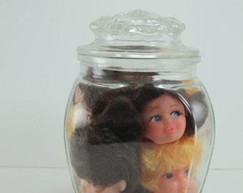 Halloween Decor Creepy Doll Heads In Jar Halloween Prop Assemblage Art